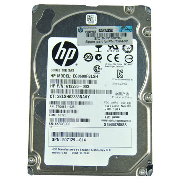 HPE 619286-003 600GB 10000RPM 2.5inch Small Form Factor Dual Port SAS-6Gbps Hot-Swap Enterprise Hard Drive for ProLaint Generation1 to Generation7 Servers