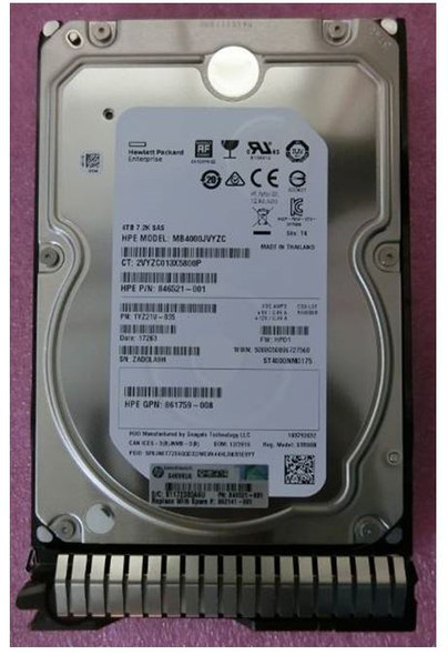 HPE 861756-B21 4TB 7200RPM 3.5inch LFF Digitally Signed Firmware SAS-12Gbps Smart Carrier Midline Hard Drive for ProLaint Gen9 Gen10 Servers (Brand New with 3 Years Warranty)