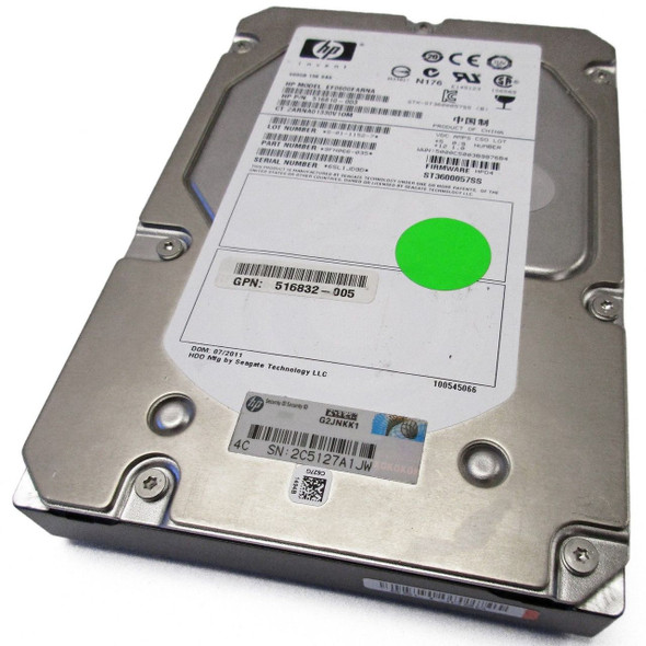 HPE 516832-005 600GB 15000RPM 3.5inch LFF Dual Port SAS-6Gbps Enterprise Hard Drive for ProLiant Gen5 Gen6 Gen7 Servers (Refurbished with Lifetime Warranty)