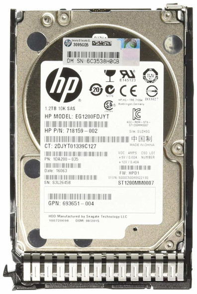 HPE 718292-001 1.2TB 10000RPM 2.5inch SFF Dual Port SAS-6Gbps SC Enterprise Hard Drive for ProLaint Gen8 Gen9 Gen10 Servers (Brand New with 3 Years Warranty)