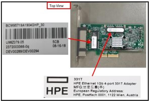 HPE 647594-B21 Ethernet 1Gb Quad Port PCI Express 2.0 x4 10/100/1000Base-T 331T Network Adapter for ProLiant Gen8 Gen9 Gen10 Servers (New Bulk Pack with 1 Year Warranty)