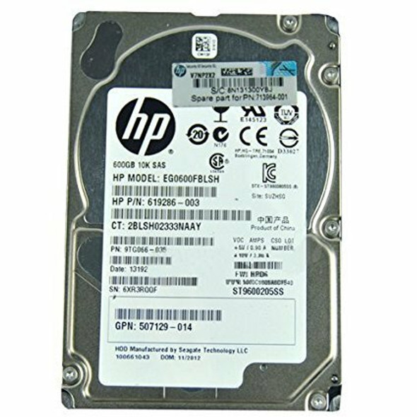 HPE EG0600FBVFP 600GB 10000RPM 2.5inch Small Form Factor Dual Port SAS-6Gbps Hot-Swap Enterprise Hard Drive for ProLiant Generation1 to Generation7 Servers (90 Days Warranty)