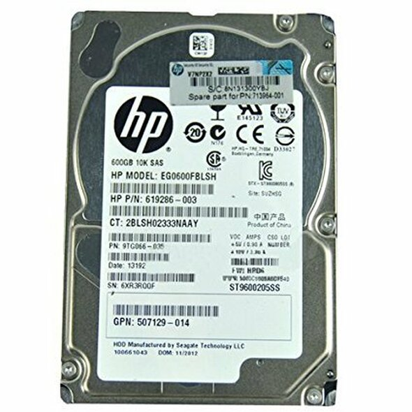 HPE 581311-001 600GB 10000RPM 2.5inch Small Form Factor Dual Port SAS-6Gbps Hot-Swap Enterprise Hard Drive for ProLaint Generation1 to Generation7 Servers