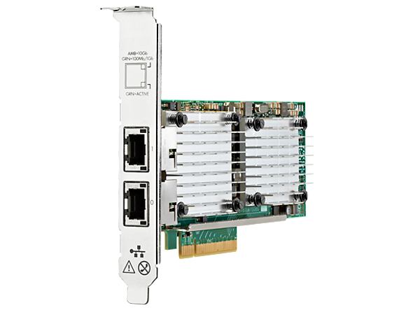 HPE 656596-B21 Dual Port 10Gbps Ethernet PCI Express 2.0 x8 530T Network Adapter for ProLiant Gen9 Gen10 Apollo Gen9 Gen10 Servers (New Bulk with 1 Year Warranty)