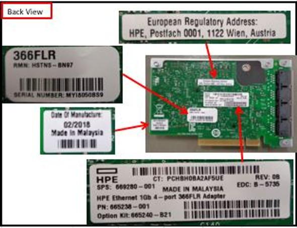 HPE 366FLR 665240-B21 1Gbps Quad Port PCI Express 2.1 x4 FlexibleLOM Gigabit Ethernet Network Adapter for ProLiant Gen10 Servers (New Bulk pack with 1 year Warranty)