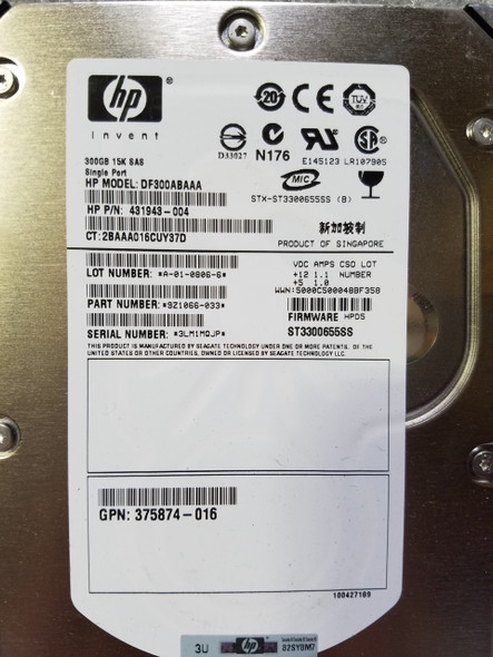 HPE 431943-004 300GB 15000RPM 3.5inch Large Form Factor Single Port SAS-3Gbps Hard Drive for ProLiant Server