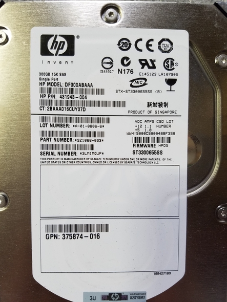 HPE 431943-004 300GB 10000 RPM 3.5inch Large Form Factor SAS-3Gbps Enterprise Hard Drive for ProLiant Gen2 to Gen7 Servers (30 Days Warranty)