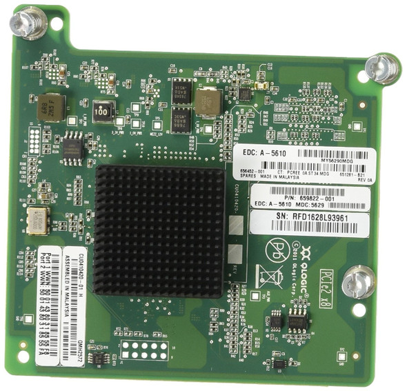 HPE QMH2572 651281-B21 Dual Port 8GB PCI Express 2.0 x4 Fibre Channel Host Bus Adapter for Gen8 BladeSystem