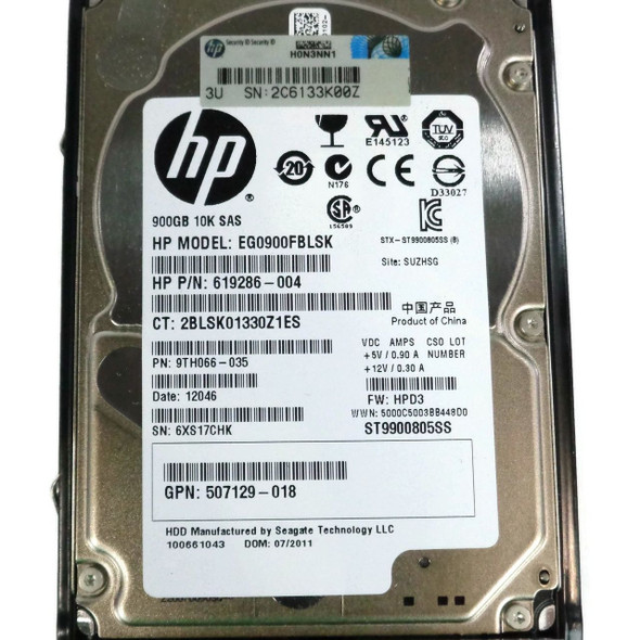 HPE 9TH066-035 900GB 10000RPM 2.5inch Small Form Factor Dual Port SAS-6Gbps Hot-Swap Enterprise Hard Drive for ProLiant Generation1 to Generation7 Servers and Storage Arrays