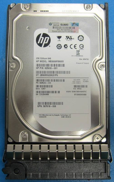 "HPE 638521-002 3TB 7200RPM 3.5inch LFF SAS-6Gbps Dual Port Midline Hard Drive for HPE EVA M6612 Series Storage (New Bulk ""O"" Hour With 1 Year Warranty)"