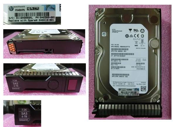HPE 846610-001 6TB 7200RPM 3.5inch LFF 512n Digitally Signed Firmware SAS-12Gbps SC Midline Hard Drive for ProLiant Gen8 Gen9 Gen10 Servers (New Bulk Pack with 1 Year Warranty)