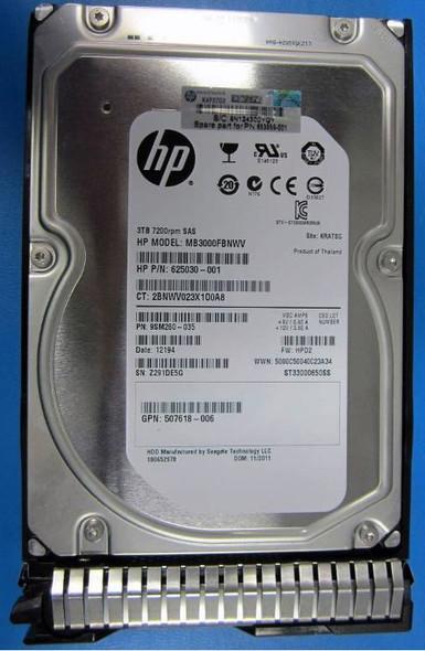 HPE 625030-001-SC 3TB 7200RPM 3.5inch LFF SAS-6Gbps Dual Port SC Midline Hard Drive for ProLiant Gen8 Gen9 Servers (New Bulk with 1 Year Warranty)