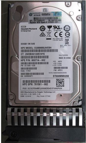 HPE 873010-B21 600GB 10000RPM 2.5inch SFF Dual Port SAS-12Gbps Enterprise Hard Drive for ProLiant Gen1 to Gen7 Servers (Brand New with 3 Years Warranty)