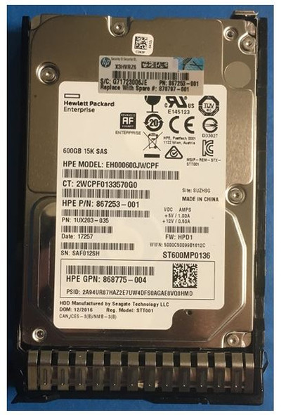 HPE 870763-B21 600GB 15000RPM 2.5inch SFF Digitally Signed Firmware 512e SAS-12Gbps SC Enterprise Hard Drive for ProLiant Gen9 Gen10 Servers (Brand New with 3 Years Warranty)