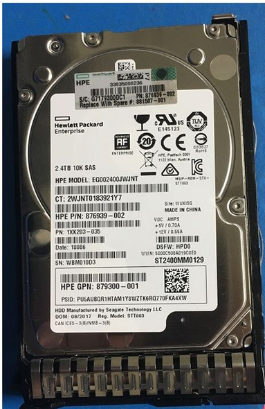 HPE 876939-002-SC 2.4TB 10000RPM 2.5inch SFF Digitally Signed Firmware SAS-12Gbps Enterprise Hard Drive for ProLaint Gen9 Gen10 Servers (Brand New with 3 Years Warranty)