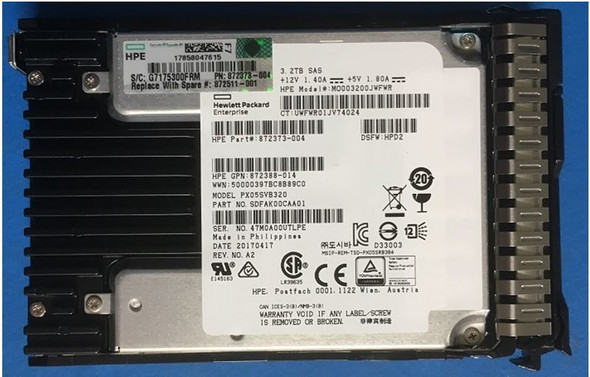 HPE MO003200JWFWR-SC 3.2TB 2.5inch SFF MLC Digitally Signed Firmware SAS-12Gbps SC Mixed Use Solid State Drive for ProLiant Gen9 Gen10 Servers (3 Years)