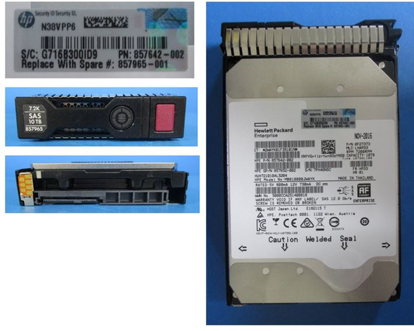 HPE Helium MB010000JWAYK-SC 10TB 7200RPM 3.5inch LFF Digitally Signed Firmware SAS-12Gbps Midline Hard Drive for ProLaint Gen9 Gen10 Servers (3 YR Warranty)