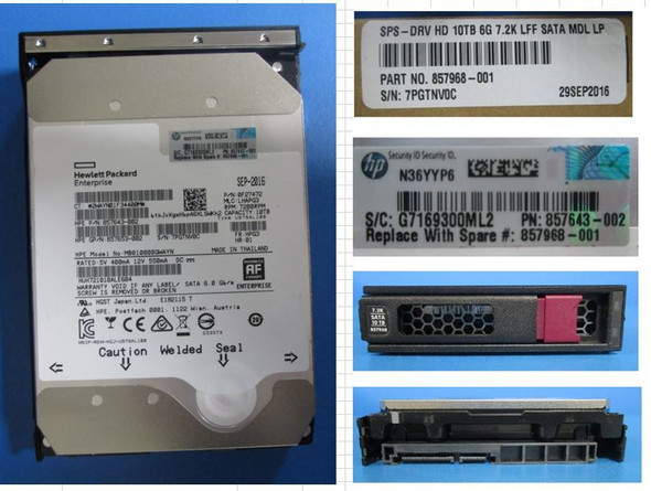 HPE Helium 857653-002 10TB 7200RPM 3.5inch LFF Digitally Signed Firmware SATA-6Gbps LPC Midline Hard Drive for Apollo Gen9 ProLiant Gen10 Servers (New Bulk Pack With 1 Year Warranty)