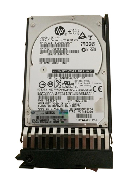 HPE 787677-001 300GB 10000RPM 2.5inch SFF Dual Port SAS-12Gbps Enterprise Hard Drive for Modular Storage Array 1040/2040 SAN Storage (Brand New with 3 Years Warranty)