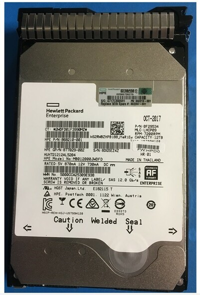 HPE Helium 868210-001 12TB 7200RPM 3.5inch LFF Digitally Signed Firmware SAS-12Gbps SC Midline Hard Drive for ProLaint Gen9 Gen10 Servers (Brand New with 3 Years Warranty)