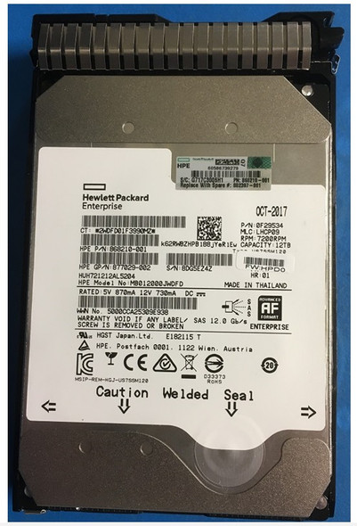 HPE Helium 868210-001-SC 12TB 7200RPM 3.5inch LFF Digitally Signed Firmware SAS-12Gbps SC Midline Hard Drive for ProLiant Gen9 Gen10 Servers (Brand New with 3 Years Warranty)