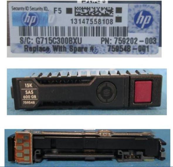 HPE 759202-003-SC 600GB 15000RPM 2.5inch SFF SAS-12Gbps Smart Carrier Hot-Swap Enterprise Hard Drive for ProLiant Gen8 Gen9 Gen10 Servers (Brand New with 3 Years Warranty)