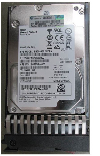 HPE 868774-002 900GB 15000RPM 2.5inch SFF Dual Port SAS-12Gbps Enterprise Hard Drive for Modular Smart Array 1040 SFF SAN Storage (Brand New with 3 Years Warranty)