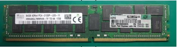 HPE 726724-B21 64GB Quad Rank x4 DDR4 2133MHz CL15 ECC Registered PC4-17000 LRDIMM 288-Pin DDR4 SDRAM SmartMemory for ProLiant Gen9 Servers (New Bulk with 1 Year Warranty)