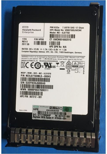 HPE 870460-001 7.68TB 2.5inch SFF Digitally Signed Firmware SAS-12Gbps SC Read Intensive Solid State Drive for ProLaint Gen9 Gen10 Servers (New Bulk with 1 Year Warranty)