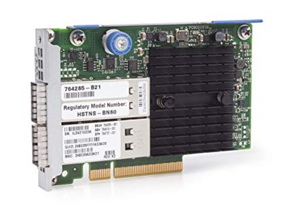 HPE InfiniBand 764285-B21 FDR/Ethernet 10Gb/40Gb Dual-port 544+FLR-QSFP Adapter for ProLiant Gen9 Gen10 Servers (New Bulk Pack with 1 Year Warranty)