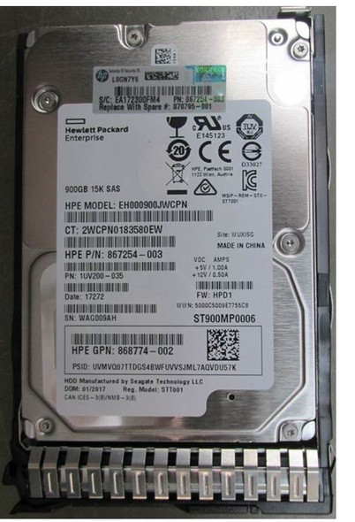 HPE 870795-001 900GB 15000RPM 2.5inch SFF Digitally Signed Firmware 512n SAS-12Gbps SC Enterprise Hard Drive for ProLiant Gen9 Gen10 Servers (Brand New with 3 Years Warranty)