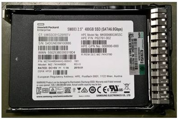 HPE P09712-B21 480GB 2.5inch SFF MLC Digitally Signed Firmware SATA-6Gbps Smart Carrier Mixed Use Solid State Drive for ProLiant Gen9 Gen10 Server (Brand New with 3 Years Warranty)