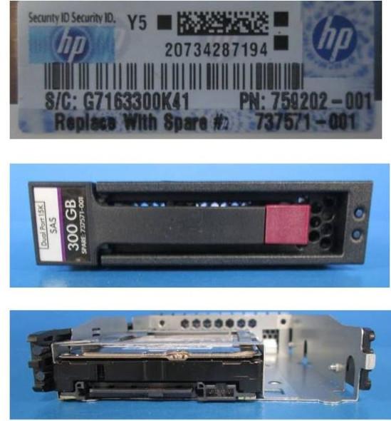 "HPE 759202-001 300GB 15000RPM 3.5inch LFF SAS-12Gbps Enterprise Hard Drive for ProLiant Gen2 to Gen7 Servers (New Bulk ""O"" Hour With 1 Year Warranty)"