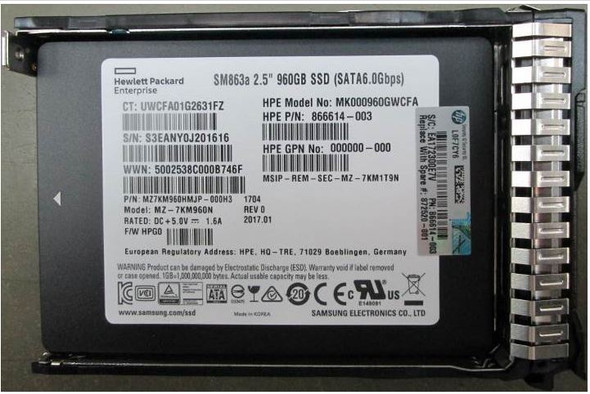 HPE MK000960GWCFA-SC 960GB 2.5inch SFF Digitally Signed Firmware MLC SATA-6Gbps Mixed Use Solid State Drive for ProLiant Gen9 Gen10 Servers (Brand New with 3 Years Warranty)