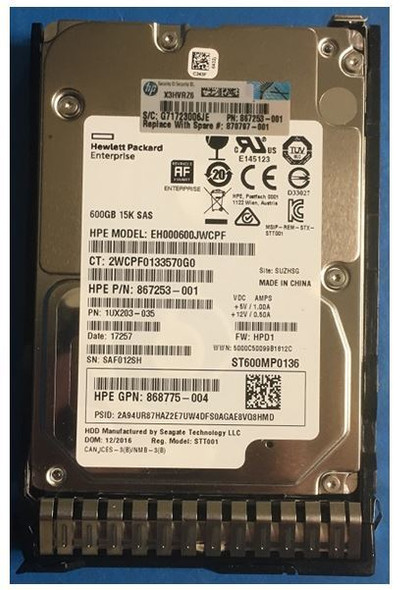HPE 868775-004 600GB 15000RPM 2.5inch SFF Digitally Signed Firmware 512e SAS-12Gbps SC Enterprise Hard Drive for ProLiant Gen9 Gen10 Servers (Brand New with 3 Years Warranty)