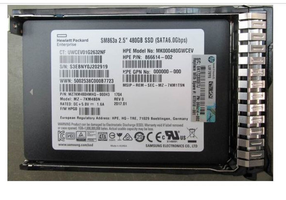 """HPE MK000480GWCEV-SC 480GB 2.5inch SFF MLC Power Loss Protection (PLP) Digitally Signed Firmware SATA-6Gbps Smart Carrier Hot-Swap Mixed Use-3 Solid State Drive for ProLiant Gen8 Gen9 Gen10 Servers (New Bulk """"O"""" Hour With 1 Year Warranty)"""
