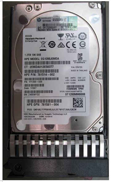 HPE 781514-002 1.2TB 10000RPM 2.5inch SFF SAS-12Gbps Enterprise Hard Drive for ProLiant Gen2 to Gen7 Servers (Brand New with 3 Years Warranty)