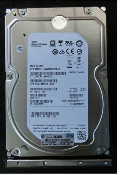HPE 862134-001 6TB 7200RPM 3.5inch Large Form Factor 512e SATA-6Gbps Low Profile Carrier Midline Hard Drive for ProLaint Gen10 Servers (Brand New with 3 Years Warranty)