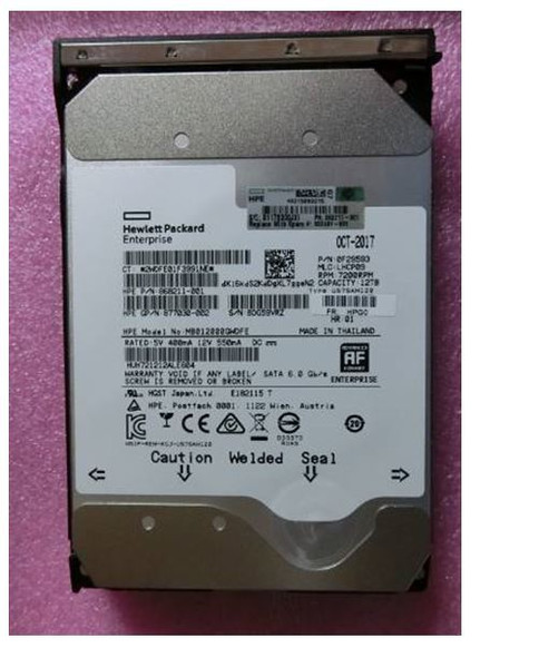 HPE Helium 868211-001-LP 12TB 7200RPM 3.5inch LFF 512e Digitally Signed Firmware SATA-6Gbps Low Profile Carrier Midline Hard Drive for ProLiant Gen8 Gen9 Gen10 Servers (New Bulk Pack with 1 Year Warranty)