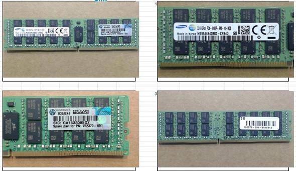 HPE 752370-091 32GB (1x32GB) 2133MHz 288-Pin PC4-2133 ECC Registered CL-15 (15-15-15) Dual Rank x4 DIMM DDR4 SDRAM Memory for ProLiant Gen9 Servers (New Bulk with 1 Year Warranty)
