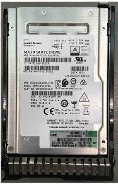 HPE VO001920JWTBL-SC 1.92TB 2.5inch SFF Digitally Signed Firmware SAS-12Gbps SC Read Intensive Solid State Drive for ProLiant Gen9 Gen10 Servers (Brand New with 3 Years Warranty)