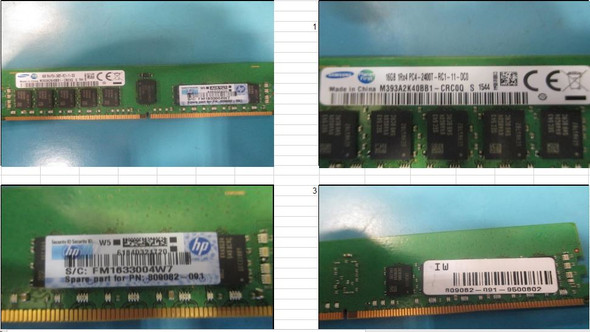 HPE 809082-091 16GB (1x16GB) Single Rank x8 DDR4 2400MHz CL17 (CAS-17-17-17) ECC Registered 288Pin PC4-19200 SmartMemory Kit for ProLiant Gen9 Servers (New Bulk Pack with 1 Year Warranty)