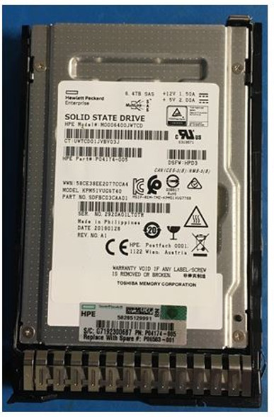 HPE P06583-001 6.4TB 2.5inch SFF Digitally Signed Firmware MLC SAS-12Gbps Smart Carrier Mixed Use Solid State Drive for ProLaint Gen10 Servers (Brand New with 3 Years Warranty)