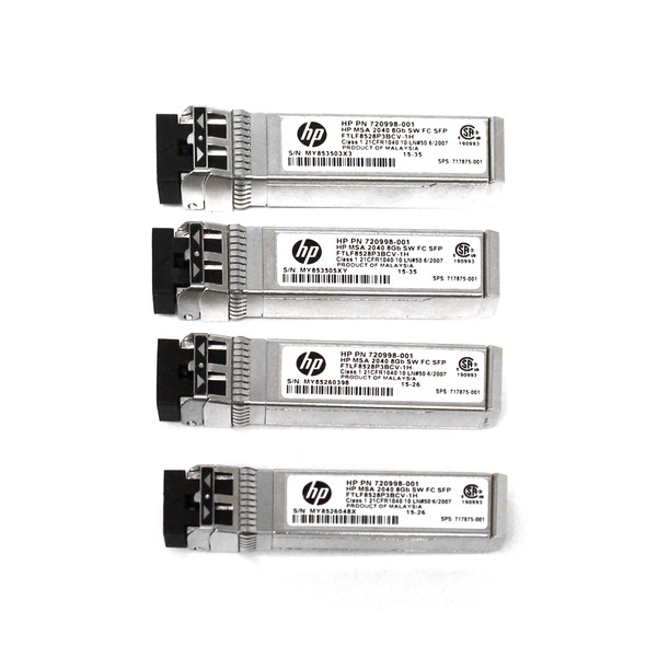 HPE 720998-001 8Gbps Short Wave Fibre Channel SFP+ 4-Pack Transceiver Module for Modular Smart Array 2040 SAN Storage (New Bulk with 1 Year Warranty)