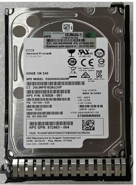 HPE 872477-B21 600GB 10000RPM 2.5inch SFF Digitally Signed Firmware SAS-12Gbps SC Enterprise Hard Drive for ProLiant Gen9 Gen10 Servers (Brand New with 3 Years Warranty)