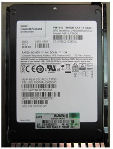 HPE P08608-001 960GB 2.5inch SFF Digitally Signed Firmware SAS-12Gbps SC Read Intensive Solid State Drive for ProLaint Gen9 Gen10 Servers (Brand New with 3 Years Warranty)