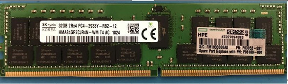 HPE P06189-001 32GB (1x32GB) Dual Rank x4 PC4-2933Y-R DDR4-2933MHz CL21 (CAS-21-21-21) ECC Registered RDIMM Smart Memory Kit for ProLiant Gen10 Servers (Brand New with 3 Years Warranty)
