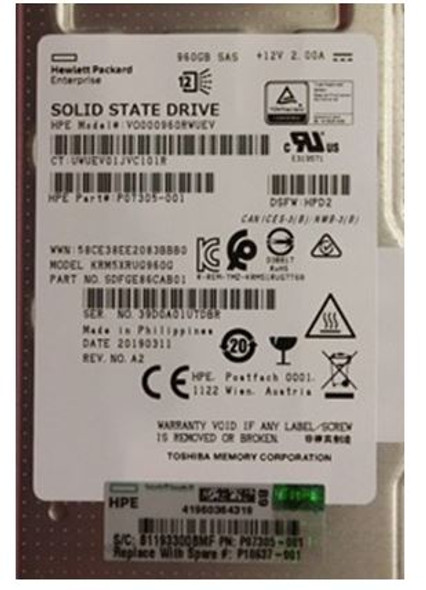 HPE P10637-001 960GB 2.5inch SFF Digitally Signed Firmware SAS-12Gbps Smart Carrier Read Intensive Value SAS Solid State Drive for ProLiant Gen9 Gen10 Servers (Brand New with 3 Years Warranty)