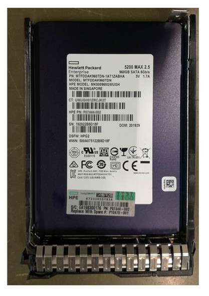 HPE P18434-B21 960GB 2.5inch SFF SATA-6Gbps Smart Carrier Mixed Use Multi Vendor Solid State Drive for ProLiant Gen10 Servers (Brand New with 3 Years Warranty)