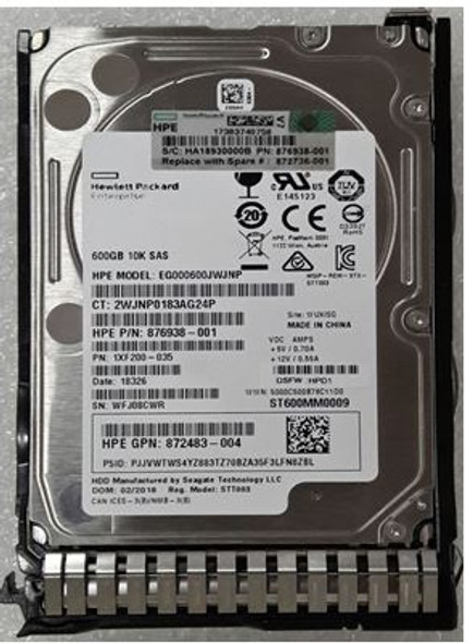 HPE 872736-001 600GB 10000RPM 2.5inch SFF Digitally Signed Firmware SAS-12Gbps SC Enterprise Hard Drive for ProLiant Gen9 Gen10 Servers (Brand New with 3 Years Warranty)